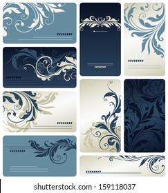 Swirl business cards. Scroll elements can be ungrouped for easy editing.