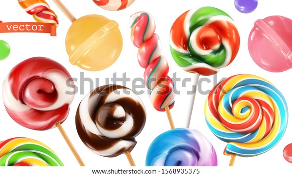 Swirl candy, lollipop. Miscellaneous 3d realistic vector objects. Food icon set