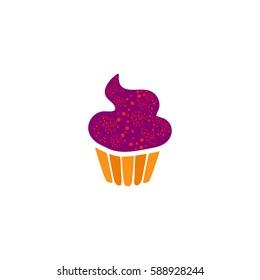 Swirl cupcake. Color symbol icon on white background. Vector illustration