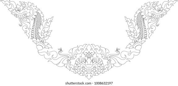 Swirl Doodle Naga Head, Swan and Giant Face. Traditional Thai and Laos Artwork Style, Designed for Artwork, Paperwork, Woodwork, Metalwork, Screen printing, Pattern Background, Frame, Tattoo, Stencil