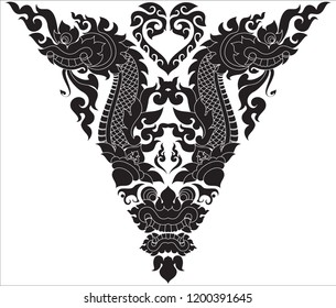 Swirl Floral Naga Head Giant Face and Heart, Thailand Cambodia and Los Artwork Style, Designed for Artwork Paperwork Pattern Frame Texture Wallpaper Tattoo Symbol Background Wall decor Woodwork