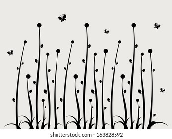 Swirl Floral Wall Sticker Background Template Element - Abstract Flower with Grass Vector