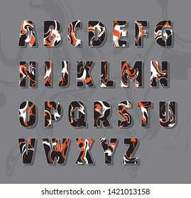 Swirl font letters numbers vector set alphabet numeric