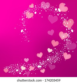 Swirl of heart and sparkles/Valentines day background/Valentine vector design
