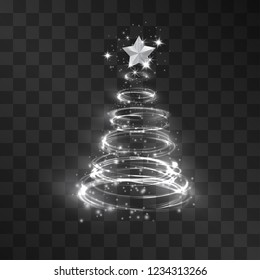 Swirl pyramid Christmas silver fir tree light effect isolated on transparent background. Neon shine silhouette decor for posters, banners, web-sites. Glitter vortex holiday symbol, party illumination