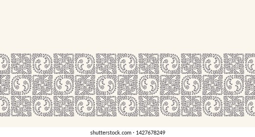 Swirl running stitch embroidery border pattern. Simple needlework Hand drawn geometric floral mosaic. Textile ribbon trim. Ecru cream home decor. Monochrome sashiko style. Seamless vector background