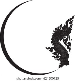 Swirl tribal Naga head with crescent moon silhouette vector format