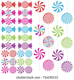 Swirled candy peppermints as hard candies, lollipops, and wrapped candies in red, pink, green, blue, purple, and rainbow colors