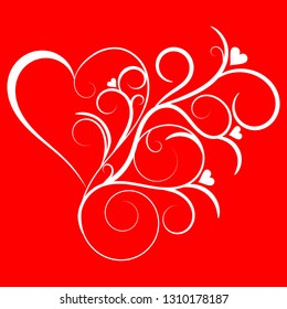 Swirled and Flourished Heart Element on a Red Background Vector Illustration, Love Exploding