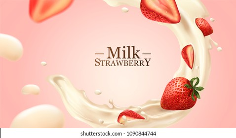 Swirling milk liquid with strawberries illustration on light pink background
