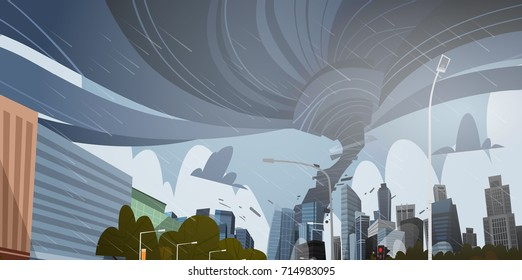 Swirling Tornado In City Destroy Buildings Hurricane Danger Huge Wind Waterspout Twister Storm Natural Disaster Concept Flat Vector Illustration