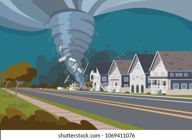 Swirling Tornado in Village Destroy Houses Hurricane Danger Huge Wind Waterspout Storm Natural Disaster Concept Flat Vector Illustration