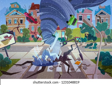 Swirling Tornado in village. Hurricane destroying houses and street. Natural disaster concept cartoon vector Illustration.