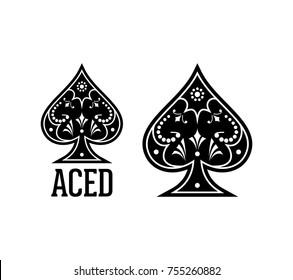 Swirls and Classic Black Spade Ace Poker Casino Illustration Logo SIlhouette