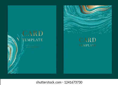 Swirls of marble or the ripples of agate. Liquid marble texture and metallic. Fluid art. Wedding invitation, RSVP, thank you cards. Vector elegant rustic template