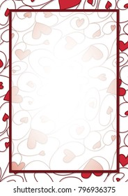 Swirly heart border in vector format.