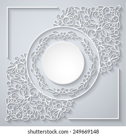 Swirly paper decor with long shadow on white, vector illustration