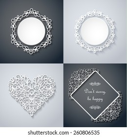 Swirly paper decor with shadow on gray, vector set