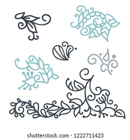 Swirly scandinavian Christmas line curl isolated on white background. Vector flourish vintage for greeting cards. Collection of filigree frame design element decoration illustration
