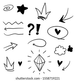 Swishes, swoops, emphasis doodles. Highlight text elements, calligraphy swirl, tail, flower, heart, graffiti crown.with hand drawing style vector