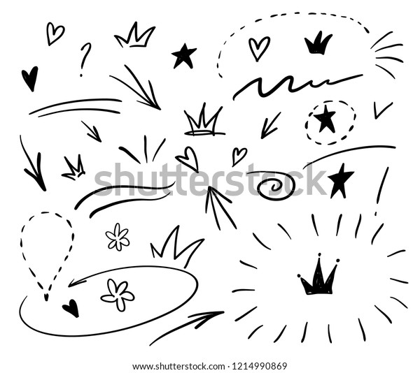 Swishes Swoops Emphasis Doodles Highlight Text Stock Vector