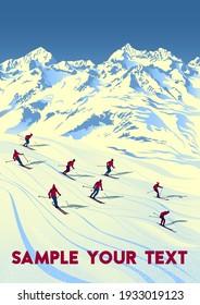 Swiss Alps Travel Poster. Handmade drawing vector illustration. Art Deco style.