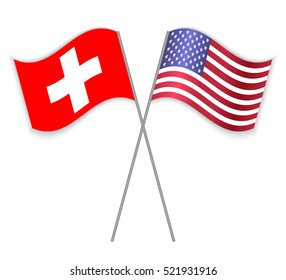 Swiss and American crossed flags. Switzerland combined with United States of America isolated on white. Language learning, international business or travel concept.