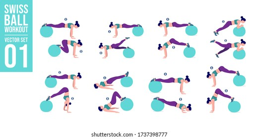 Swiss ball workout set. Young woman doing Stability ball exercises. Vector illustration.