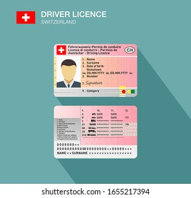 Swiss car driver license identification. Flat vector illustration. Switzerland.