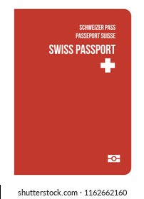 Swiss citizenship biometric passport. Travel or Immigration to Switzerland European Union. Concept of world power passports from developed countries in Europe, change nationality. National symbol.