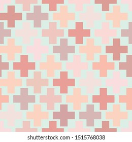 swiss cross vector seamless repeat pattren. Perfect as a surface background for Home Decor products,  fabrics,  packaging, wallpaper, bedding, ceramics and tiles