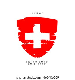 Swiss Day, August 1. Red coat of arms with a white cross. Vector illustration. Holiday postcard. The motto is one for all and one for all in Latin