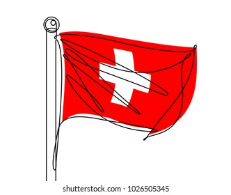 Swiss Flag Continuous Line Vector