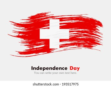Swiss flag. Flag in grungy style. Independence Day.