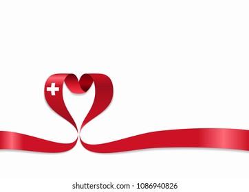 Swiss flag heart-shaped wavy ribbon. Vector illustration.