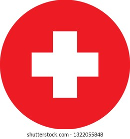 SWISS  flag. Simple vector round SWISS flag