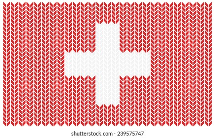 Swiss flag with with texture of wool