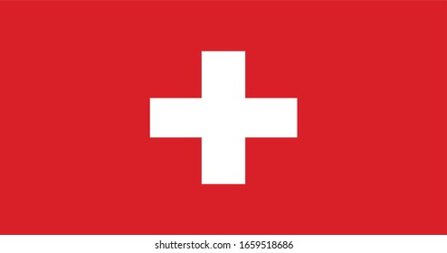Swiss Flag Vector - Official Swiss Flag With Original Color and Size Proportion