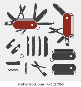 Swiss Folding knives to take apart flat icon vector; Swiss Red Multi-tool instrument; Parts of swiss knife