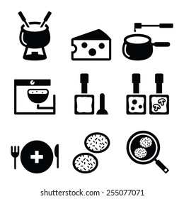 Swiss food and dishes icons - fondue, raclette, r�¶sti, cheese