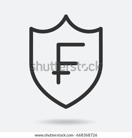 Swiss Franc Currency Symbol Shield Stock Vector Royalty Free