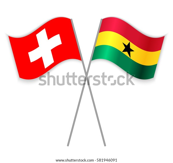 Swiss and Ghanaian crossed flags. Switzerland combined with Ghana isolated on white. Language learning, international business or travel concept.