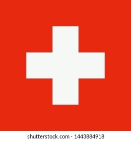 Swiss happy national day banner. Switzerland flag vector icon.