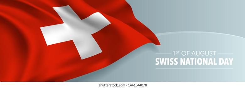 Swiss happy national day vector banner, greeting card. Switzerland wavy flag in 1st of August patriotic holiday horizontal design