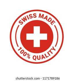 Swiss made seal logo. Vector 100 percent premium Switzerland quality badge icon with Swiss flag