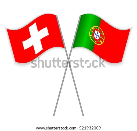 2b41b836ed Swiss and Portuguese crossed flags. Switzerland combined with Portugal  isolated on white. Language learning