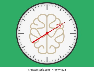 Swiss style clock with a brain under time pressure
