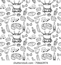Swiss traditional cuisine - fondue seamless pattern on white background. Cheese, wine bottle, pot, cucumber, pear, bread. Hand drawn sketch. Packaging design