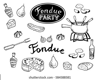 Swiss traditional fondue ingredients set of cheese, pot, cucumber, pear, bread, wine bottle. Hand drawn sketch on white background