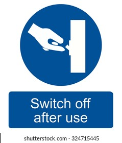 Switch off after use sign-vector
